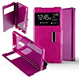 Funda para Sony Ericsson Xperia Z5 con tapa y ventana para protección integral en piel sintética, compatible con Sony Ericsson, color rosa