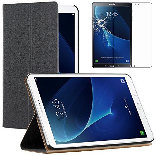 ebestStar - Funda Compatible con Samsung Galaxy Tab A6 A 10.1 (2018, 2016) T580 T585 Carcasa Cuero PU Silicona Smart Cover, Reposo Automático, Negro +Cristal Templado [Tab: 254.2x155.3x8.2mm 10.1']