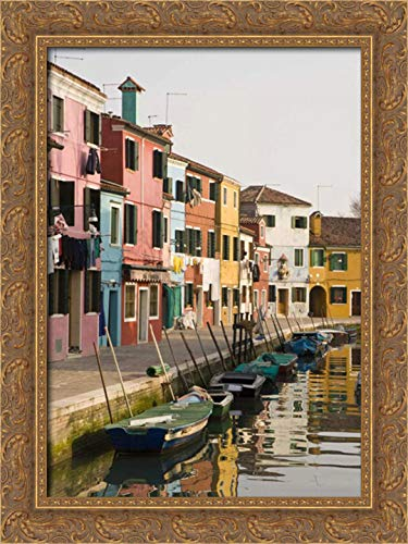 Kaveney, Wendy 28x40 Gold Ornate Framed Canvas Art Print Titled: Italy, Burano Colorful Houses of line a Canal