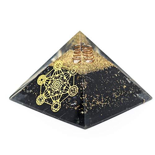 Orgon Pyramide aus schwarzem Turmalin mit Metatron (70 mm)