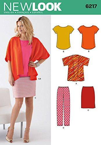 Simplicity Creative Patterns New Look 6217 Damen-Einzelteile, Größe A (38-40-50)