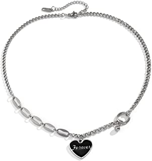 18in 20in Heart Charm Stainless Steel Chain Necklace for Men Women Couple Jewelry Forever Gift