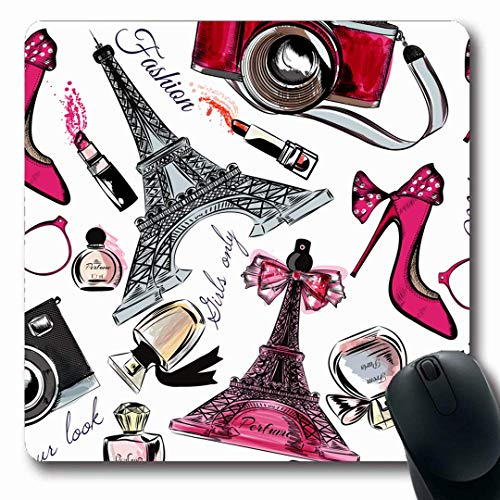 Mousepads längliche Form Retro rot Paris Parfüm Eiffel Lippenstift Vintage Tower Klassisches Design Hyperraum rutschfeste Gaming Mauspad Gummi längliche Matte