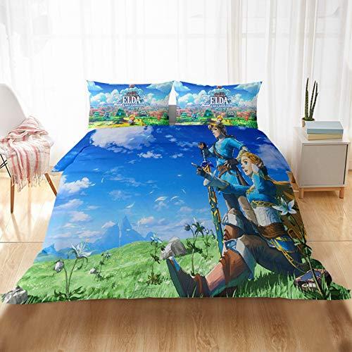 Bolat Legend of Zelda, Comic-Kinder-Bettwäscheset aus weicher Mikrofaser und Kissenbezug, 135 x 200 cm
