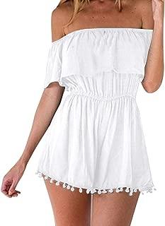 Casual Jumpsuit for Women, Summer Off Shoulder Solid Bandeau Short Sleeve Tassel Loose Playsuits