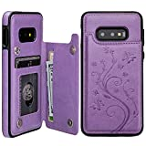 Vaburs S10e Case Wallet with Card Holder, Embossed Butterfly Premium PU Leather Double Magnetic Buttons Flip Shockproof Protective Case Cover for Samsung Galaxy S10e(Butterfly Purple)