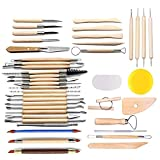 LINGSFIRE Pottery Tools, 44PCS Clay Sculpting Tools Wooden Handle Pottery Carving Tool Set Clay Cleaning Tools...