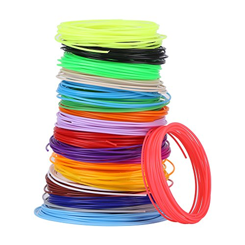 3D Pen Filament Refills, Different Colors Filament Refills for Low Temperature 3D Pen, PCL Filament Refills 16.4 Feet for Each Color, 20 3D Printing Pen Filament Refills 1.75mm