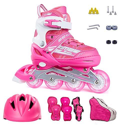 ZIXING Fashion Inliner Damen Rollerblade Inliner für Kinder mit Schutzset Helm Rucksack Rollschuhe Mädchen Jungen Pink S