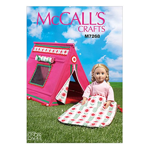 McCall's Patterns 7268 OSZ,18' Dolls Sleeping Bag and Tent, One Size