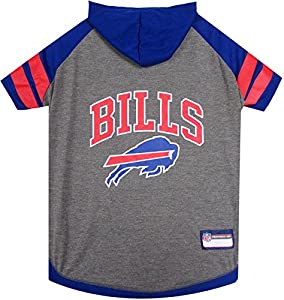 NFL Buffalo Bills Hoodie for Dogs & Cats. | NFL Football Licensed Dog Hoody Tee Shirt, Small| Sports Hoody T-Shirt for Pets | Licensed Sporty Dog Shirt