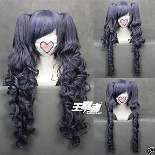 Negro Butler Kuroshitsuji Ciel Phantomhive peluca azul gris mezcla pelo sinttico Cosplay Pelucas con clip desmontable colas de caballo