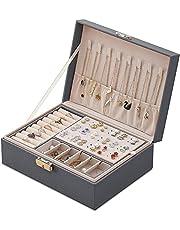Aexle Wielokolorowa szkatułka na biżuterię damska, podwójna warstwa, skóra PU, kuferek do przechowywania pierścionków, kolczyków, bransoletek, naszyjników, biżuterii, organizatorów, pudełko na prezent dla dziewcząt i kobiet