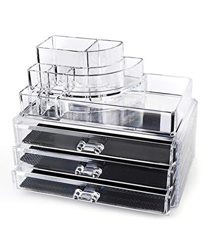 Home-it Clear acrylic makeup organizer cosmetic organizer and Large 3 Drawer Jewerly Chest or makeup...