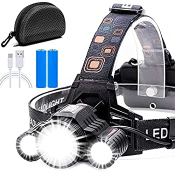 Headlamp,Cobiz Brightest High 6000 Lumen LED Work Headlight,18650 USB Rechargeable IPX4 Waterproof Flashlight with Zoomable Light,Head Lights for Camping Hiking Outdoors,Best Gifts