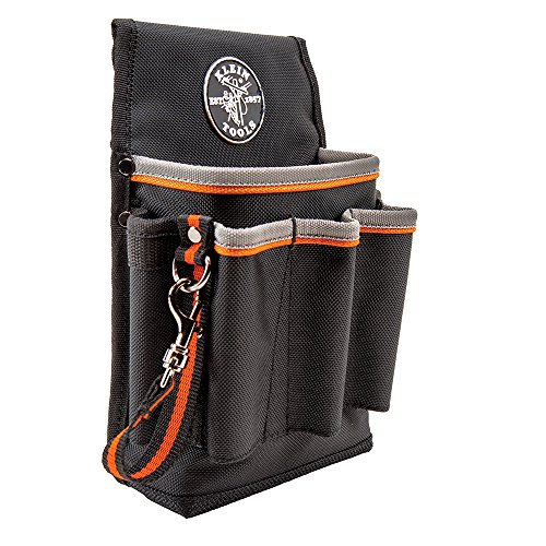 Klein Tools 5241 Tool Pouch, Tradesman Pro Tool Pouch with Electrical Tape Thong and Heavy Duty Reinforced Bottoms, 6-Pocket