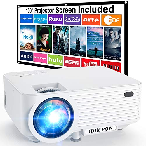 HOMPOW Mini Beamer, Tragbarer Video Beamer mit 6000 Lumen, Full HD 1080P Unterstützung, Integrierte Dual Lautsprecher, Kompatibel Mit TV Stick/ HDMI/ VGA/ USB/ TV Box/ Laptop/ DVD/ PS4, Weiß