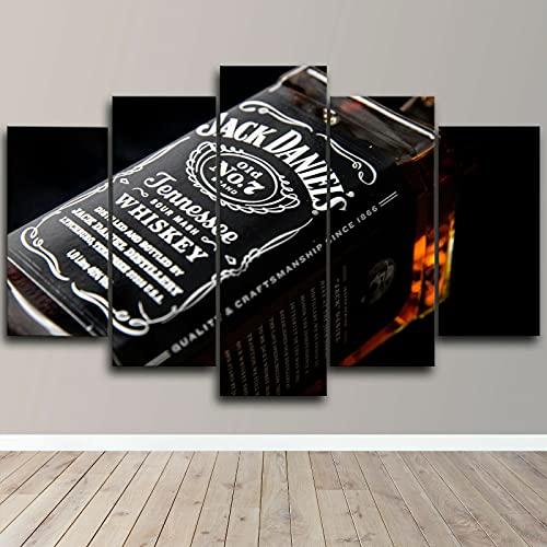 Gtart Mehrteilige Wandbilder Groß Bild Leinwand Bilder Wohnzimmer Modern Wandbilder Kunstdrucke Leinwandbilder XXL 5 Teilig Wandbild Schlafzimmer Jack Daniels Tennessee Poster