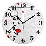 GOSMAO 25cm (9.8') Redondo Reloj de Pared Silencioso No Tick Tack Ruido Reloj de Pared Oveja con Corazones