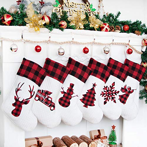 LUBOTS 2020 New Set of 6 Christmas Stocking(20inch) Silhouette Buffalo Red Plaid/Rustic/Farmhouse/Country Cotton Fireplace Hanging Xmas Stockings Decorations for Family Holiday Season Decor