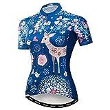 weimostar Maillots De Ciclismo De Mujer MTB Bicicleta De Carretera Transpirable De Secado Rápido Ropa Deportiva Pequeño Ciervo Azul XL