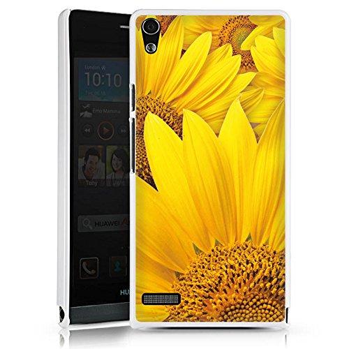 DeinDesign Cover kompatibel mit Huawei Ascend P6 Hülle Schutz Hard Hülle Sonnenblumen Blüte Gelb