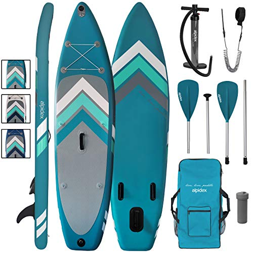 ALPIDEX Stand Up Paddle Set SUP 305 x 76 x 15 cm Belastbar bis 110 kg Aufblasbar Stabil Leicht Komplett Set Tragetasche Paddel Finnen Luftpumpe Leash Repair Kit, Farbe:Petrol