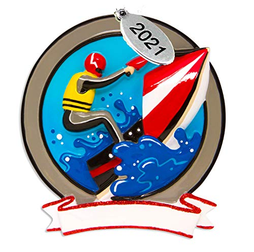 Jet Ski Ornament 2021- Easy to Personalize at Home - Free Personalization Brochure Included - Comes in A Gift Bag So It's Ready for Giving