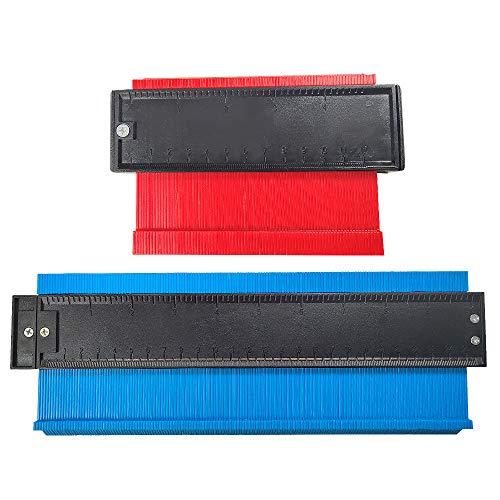 Gintan Konturenlehre, Kunststoff Kontur Messgerät 25cm und 10cm Konturmessgerät Markierungswerkzeug für Duplikator Profil Kopieren Irregulär Formen Rückverfolgung Vorlage Messwerkzeug (Rot + Blau)