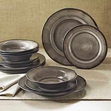 12-Piece Bramley Crackle Glaze Dinnerware Set, Gray