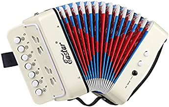 Eastar Kids Accordion Toy Accordian Mini Musical Instruments 10 Keys Button for Child Children Kids Toddlers Beginners (White)