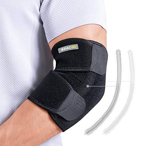 BRACOO EP30 Ellenbogenbandage mit Verstärkung - atmungsaktive Ellenbogenschiene mit Klettverschluss für extra Halt