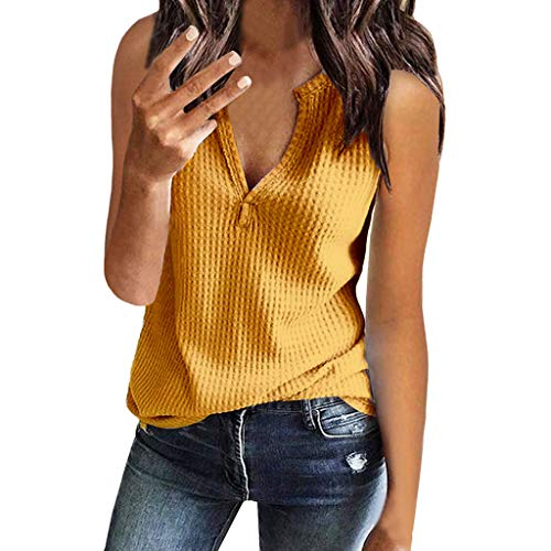 Janly - Chaleco sin mangas para mujer, cuello en V, sin mangas, tejido gofre, holgado, para mujer, color amarillo (XXL)