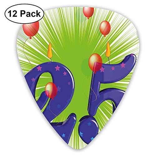 Gitaar Picks12pcs Plectrum (0.46mm-0.96mm), Funky Vibrant Twintig Vijf met Sterren Kaars Ballonnen, Voor Uw Gitaar of Ukulele