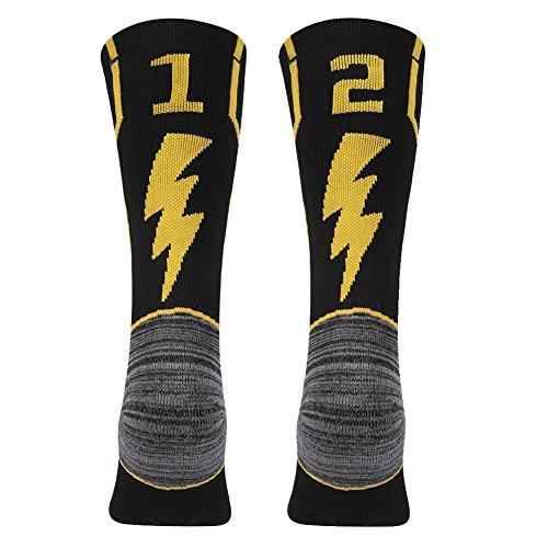 KitNSox Sport Crew Socks Kids, Youth Boys Girls Rugby Soccer Athletic Team Number Socks Black/Gold 1 Pair