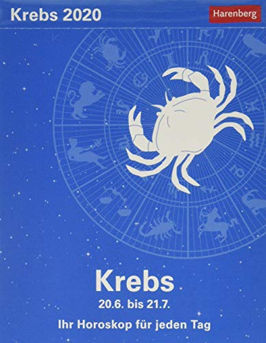 Krebs Sternzeichenkalender. Tischkalender 2020. Tageskalendarium. Blockkalender. Format 11 x 14 cm