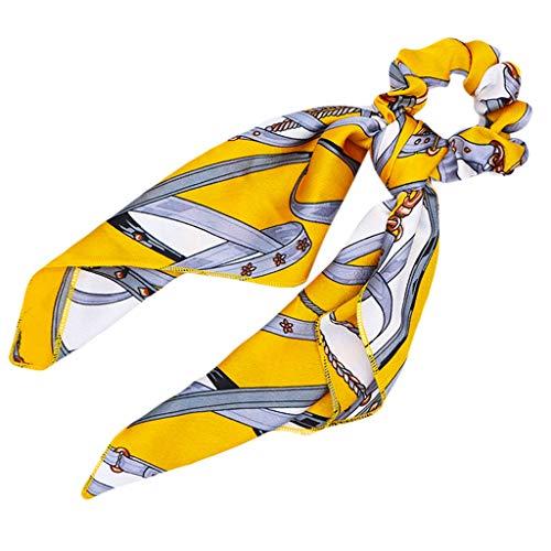 JERKKY Femmes Dames Long Ruban Gros Intestin Cheveux Corde Mouchoir Foulards Bowknot Vintage Porte Queue De Cheval Coloré Métal Chaîne Motifs Chouchous Jaune