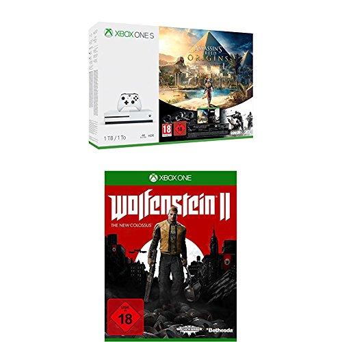 Xbox One S 1TB Konsole - Assassin's Creed Origins Bonus Bundle inkl. Tom Clancy's Rainbow Six: Siege Spiele-Download + Wolfenstein II: The New Colossus