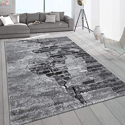 Paco Home Tapis Salon Gris Pierre Design Aspect Béton Motif 3D Robuste Poils Ras, Dimension:120x170 cm