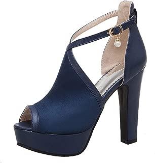 FANIMILA Women Fashion Block High Heels Sandals