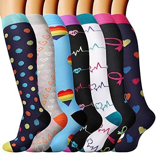 DRESHOW Calcetines de Compresión para Hombres y Mujeres 3 7 Pares 15-20 mmHg es el Mejor para Running, Correr, Senderismo, Volar, Viajar, Varicosas, Médico, Deportivo, Embarazo