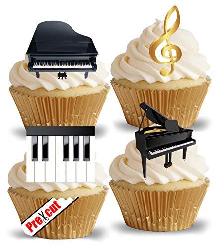 Vorgeschnittene Klavier-Dekoration für Cupcakes, Kuchen, Dessert-Aufsätze, essbar, für Partys, Geburtstag, Hochzeit, Musikschlüssel-Deko