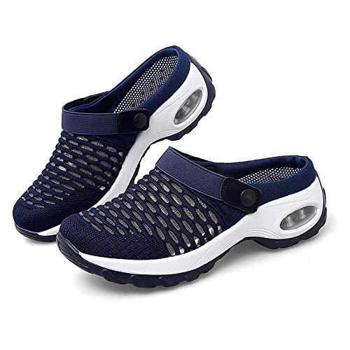 MUXIA Zapatos de jardín de Malla para Mujer Zapatillas de Deporte con Plataforma de Mulas de Malla Sandalias para Caminar ortopédicas (10,púrpura)