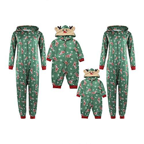 Familien Weihnachten Pyjamas Set Schlafanzug Jumpsuit Hoodie mit Reißverschluss Kapuze Schlafanzüge Overall Hausanzug für die Familien (Grün Kinder, 2Jahre)
