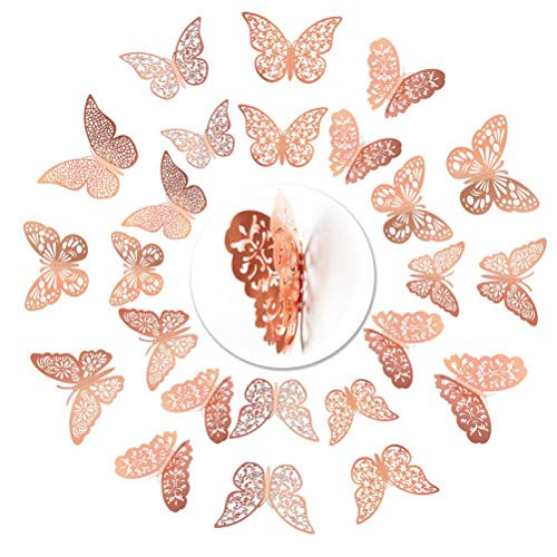 nuoshen 36 Pcs Butterfly Wall Stickers, Rose Gold 3D Butterfly Wall Stickers DIY Art Decor 3D Wall Decals for Home, Bathroom, Party Decoration