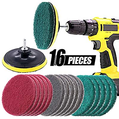 Swpeet 16Pcs 5Inch 3 Different Color Scrubbing Pads Drill Powered Brush Tile Scrubber Scouring Pads Cleaning Kit, Abrasive Buffing Pads Replacement with 1 Pcs Hook Attachment for House Cleaning