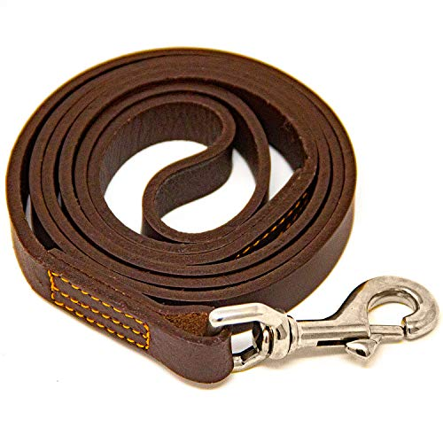 Logical Leather 4 Foot Dog Leash - Best for Training - Water Resistant Heavy Full Grain Leather Lead - Brown