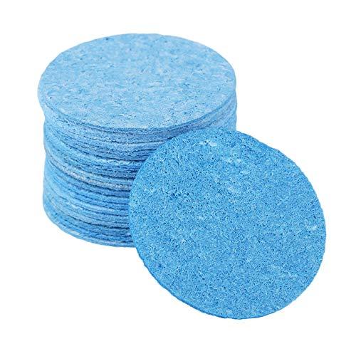 """Hicello 20pcs 1,97"""" Blaue runde Schwamm-Renigungspolster für Spitzen der elektrischen Lötkolben, Bügeleisen, für Schweißen und Löten in hoher Temperatur"""