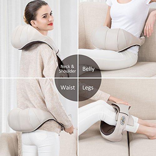 Snailax Shiatsu Neck and Shoulder Massager with Heat Massage Pillow Deep Kneading for Back Legs Neck Pain