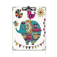 クリップボード 保育園 プレゼントA4 バインダー かわいい東洋風の象の鳥と蜂の東洋をテーマにしたアートデザイン太陽と月の装飾 用箋挟 クロス貼 A4 短辺とじ多色